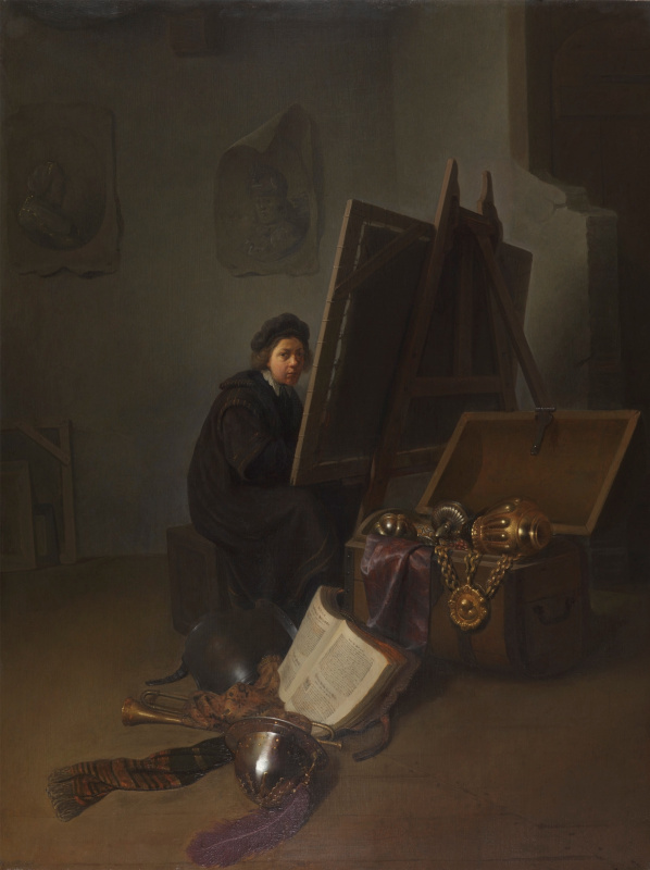 Gerrit (Gerard) Dow. The artist at the easel (possibly self-portrait)