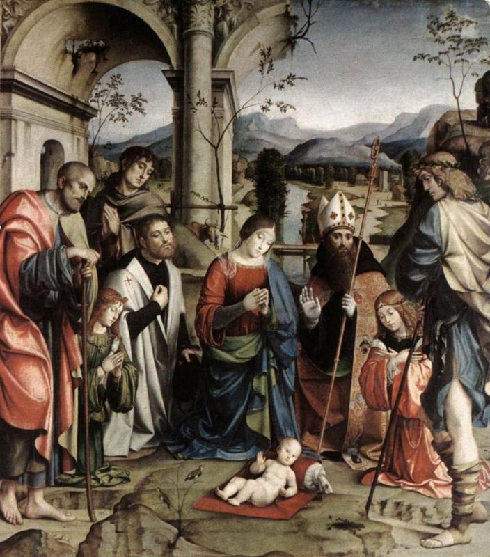 Франческо Франча. Поклонение младенцу