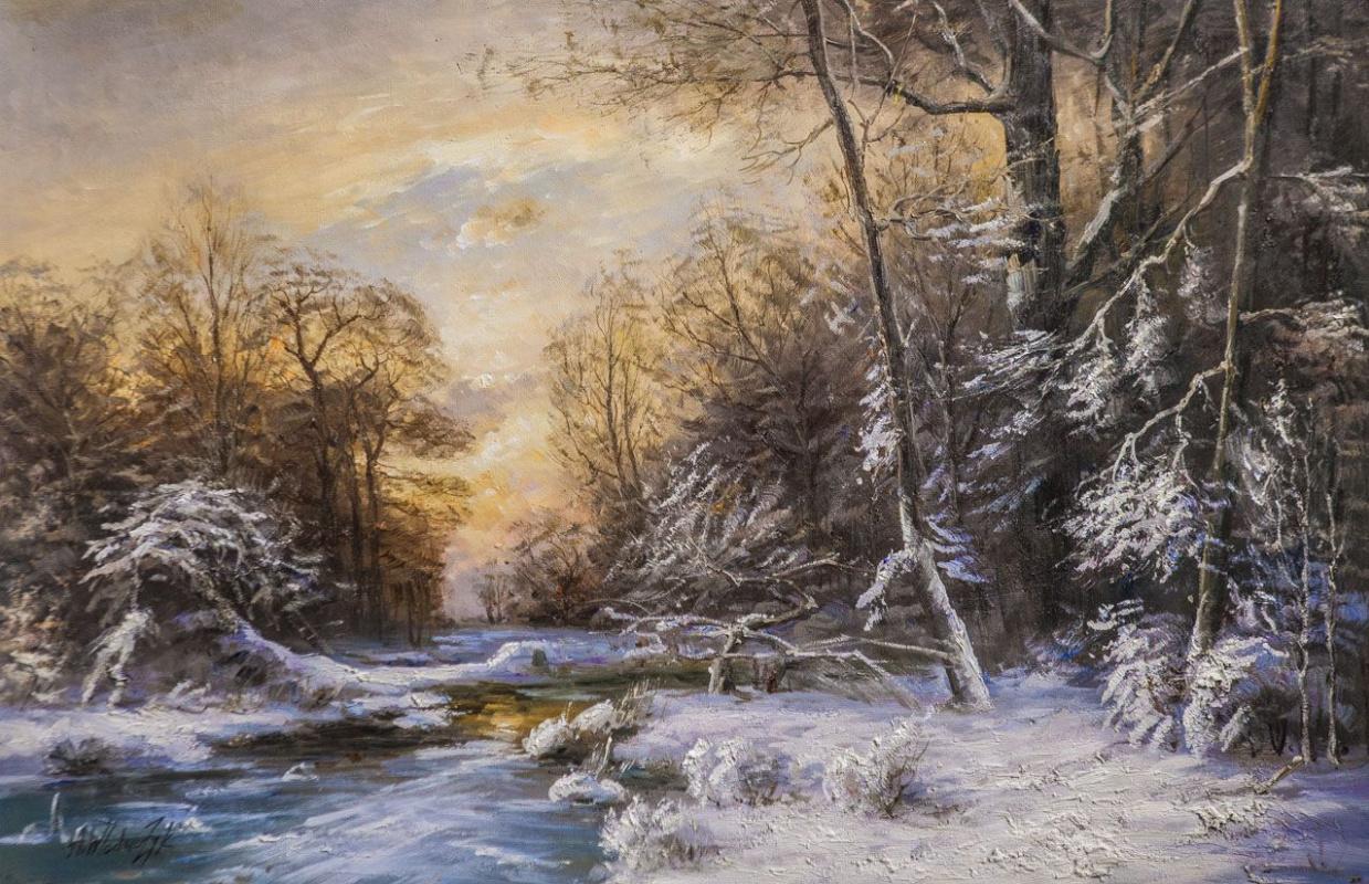 Andrzej Vlodarczyk. Winter landscape. Along the ice-free stream N3