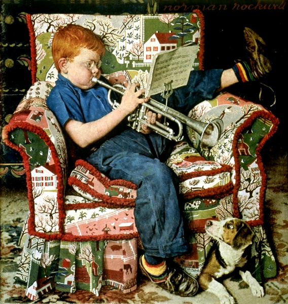 Norman Rockwell. The game is on the tube