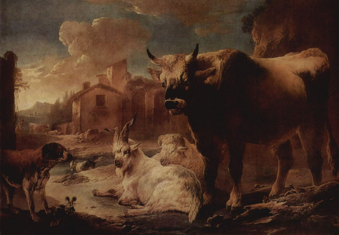 Philippe Peter Rose. Landscape with a herd