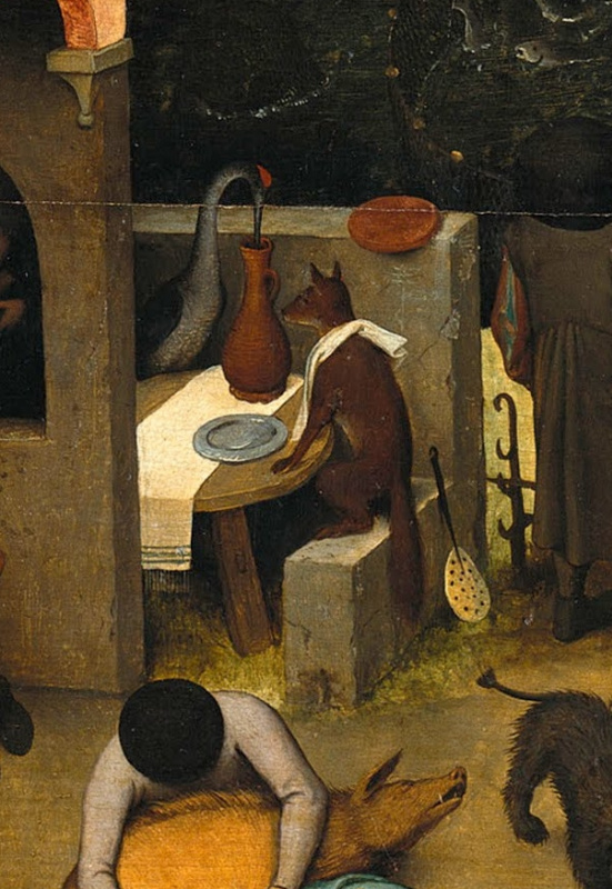 Pieter Bruegel The Elder. Flemish proverbs. Fragment: A fox and a crane entertained each other - two deceivers always remember their profit. Being a scoop for foaming is a parasite. What is the use of a beautiful plate, if you have nothing to put on it? - beauty is not self-worth
