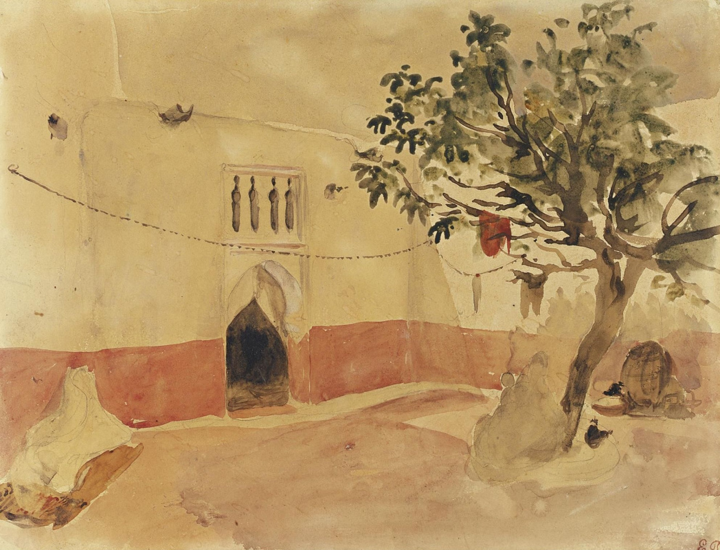 Eugene Delacroix. Moroccan courtyard