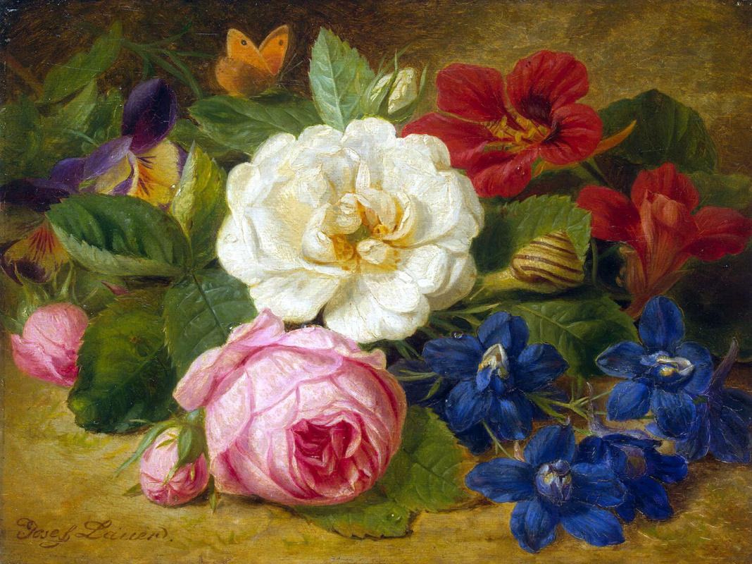 Иозеф Лаунер. Букет цветов с улиткой