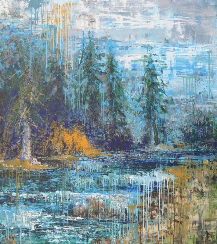 "Tanya Vasilenko. ""The Energy Of The Carpathians"". Acrylic. Canvas. Carpathian Energy. Acrylic on Canvas."
