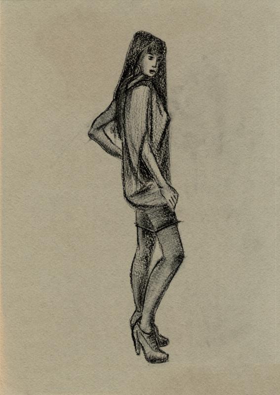 Полина. Женщина в платье. Зарисовка