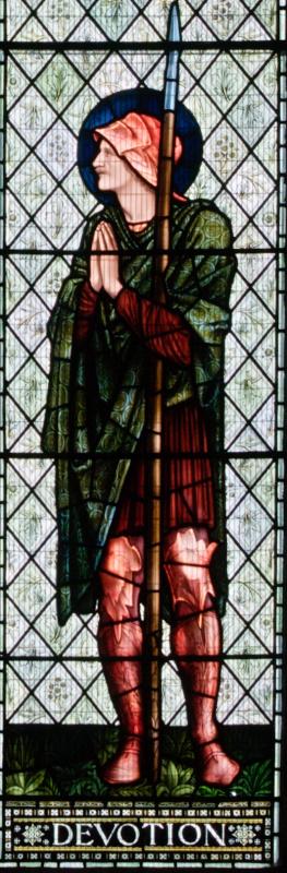 """Уильям Моррис. """"Окно Люси"""", витражное окно церкви аббатства Малмсбери. Фрагмент. Молитва"""