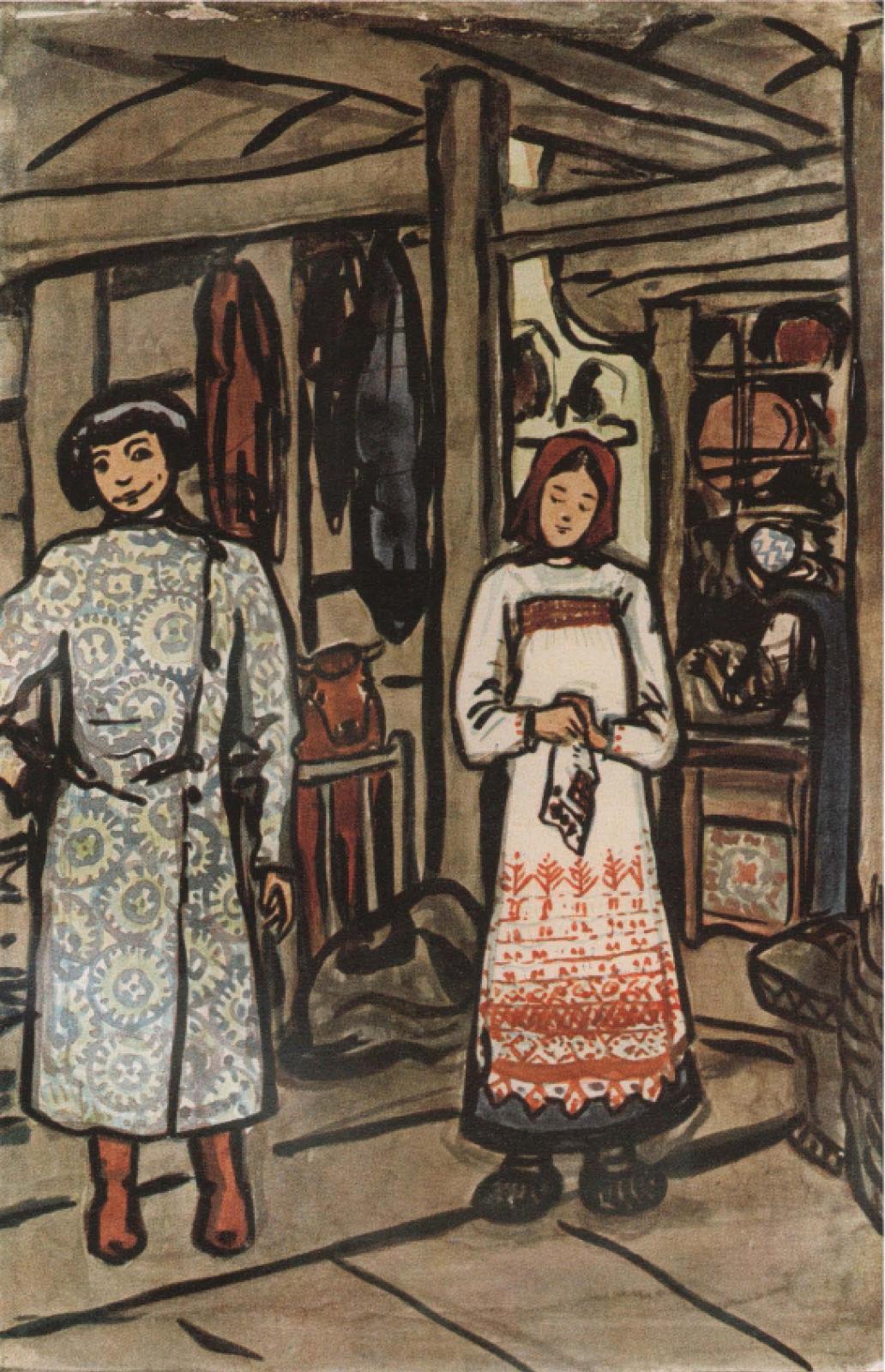 Елена Дмитриевна Поленова. Иллюстрация к прибаутке Тили-тили тесто