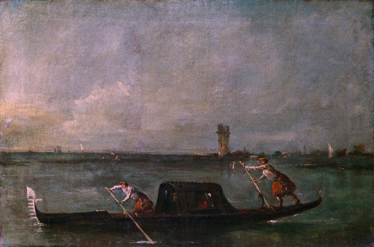 Франческо Гварди. Гондолы на лагуне недалеко Местре