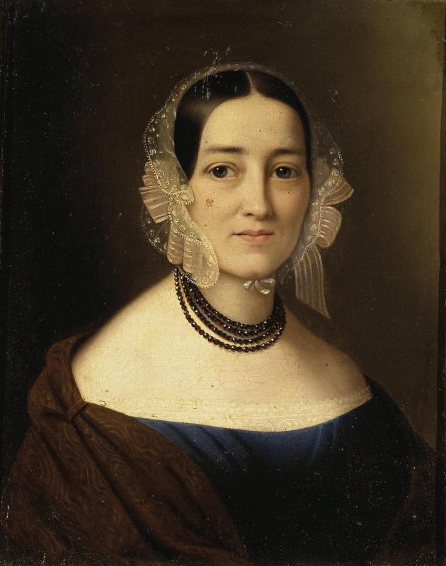 Рудольф Губер. Портрет молодой женщины с гранатовым ожерельем