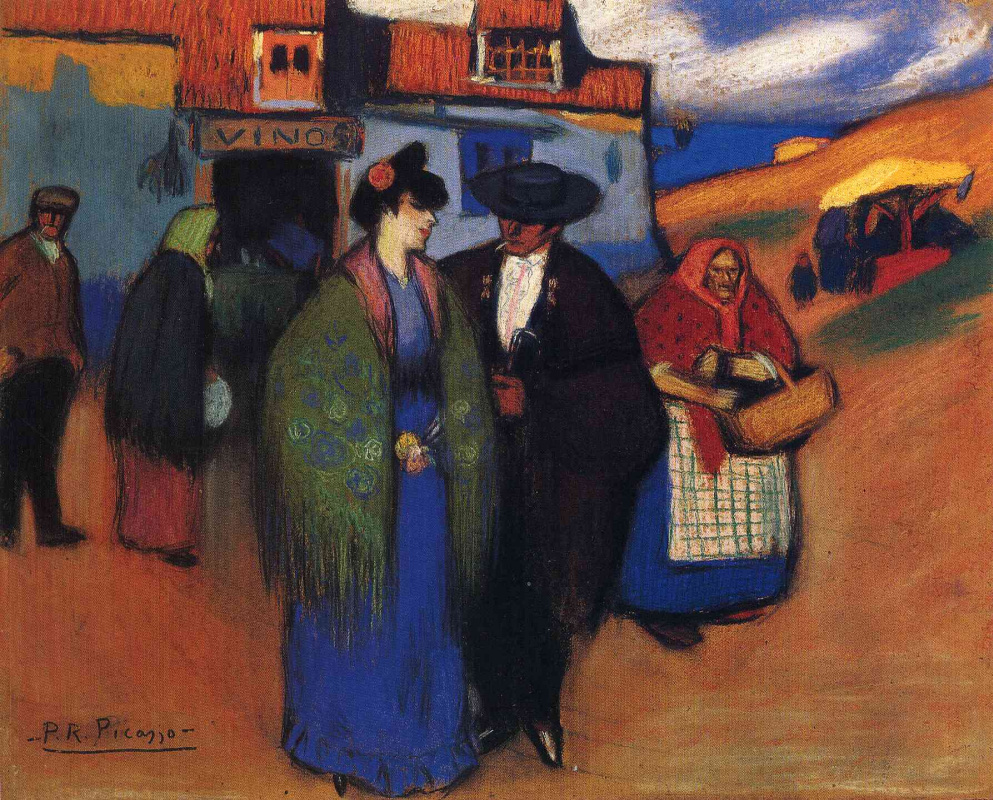 Пабло Пикассо. Испанская пара перед гостиницей