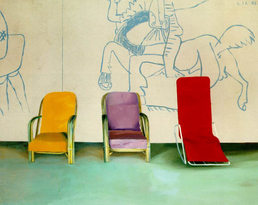 David Hockney. Three chairs near a mural of Picasso