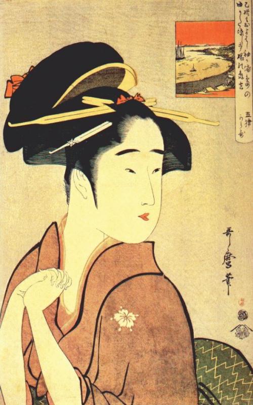 Kitagawa Utamaro. Geisha, Kamekichi