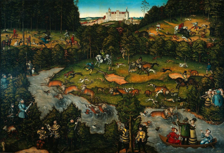 Lucas Cranach the Elder. Deer hunting near the castle Hartenfels
