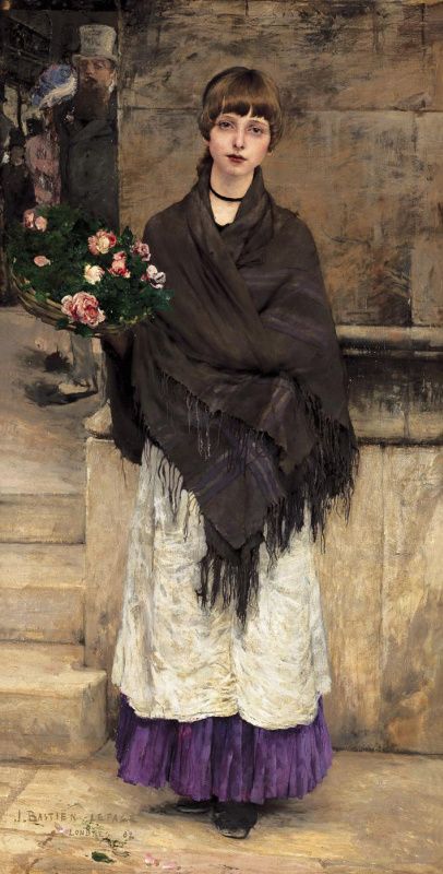 Жюль Бастьен-Лепаж. Девушка с корзиной цветов