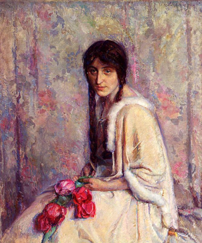 Альберт Рулофс. Девушка с цветами в руках