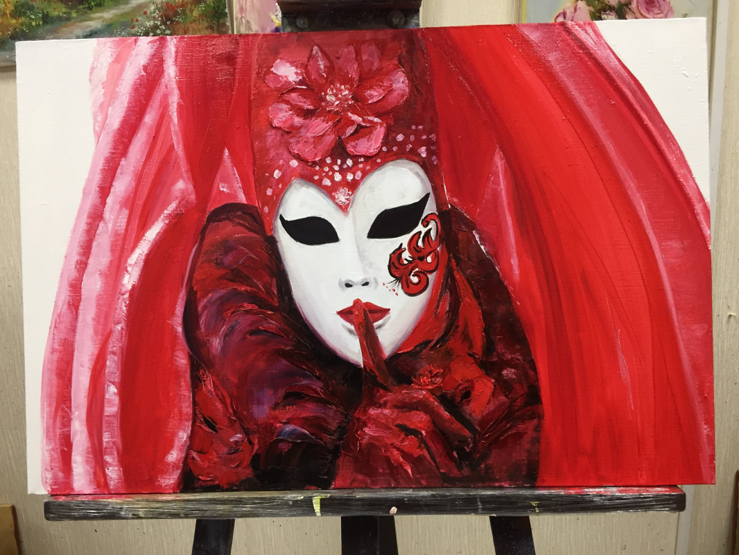 Victoria Maltseva. Mask in red