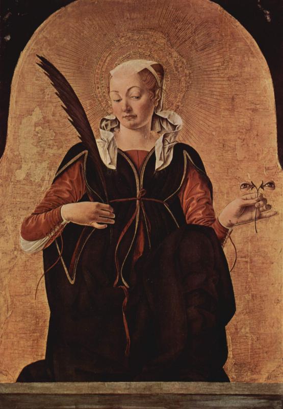 Франческо дель Косса. Алтарь Гриффони, первоначально Капелла Гриффони в церкви Сан Петронио в Болонье, навершие на правой створке с изображением Иоанн