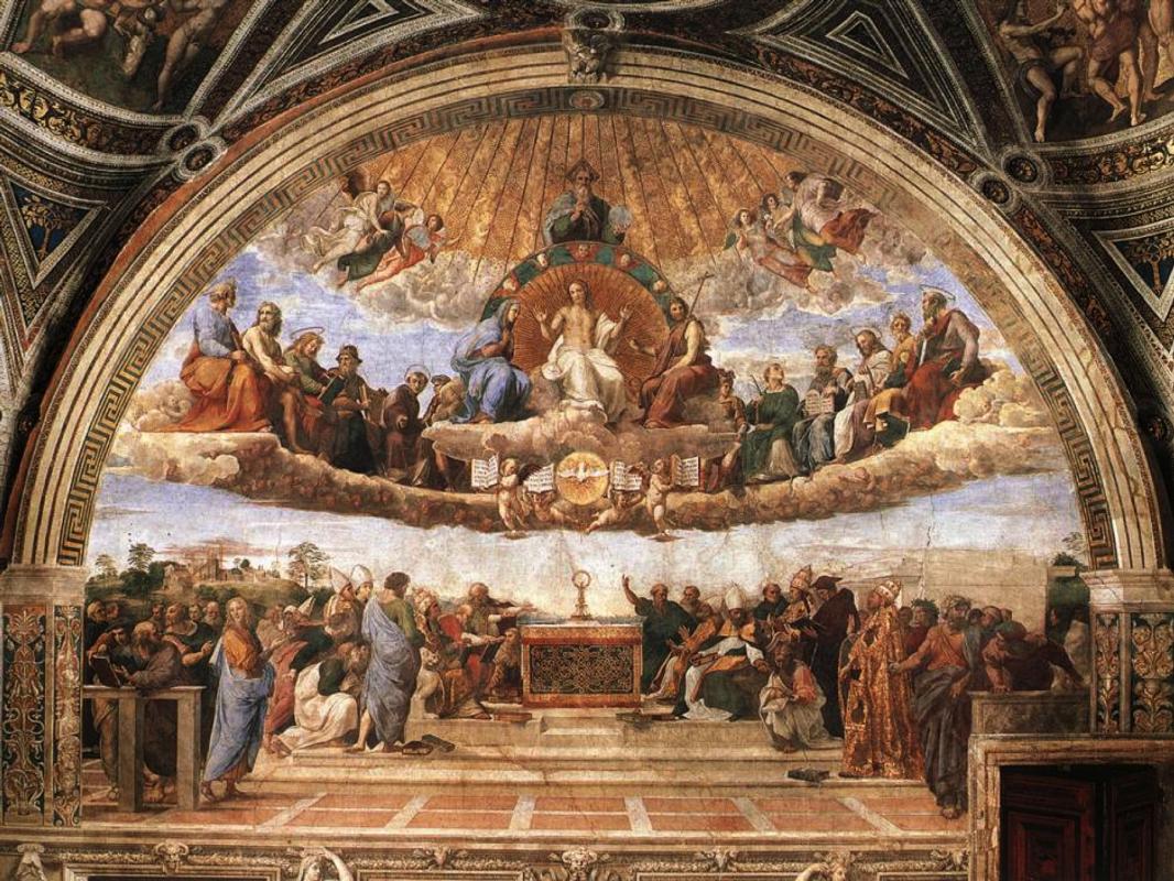 Рафаэль Санти. Диспут (Спор о Святом Причастии) Фреска Станца делла Сеньятура музея Ватикана