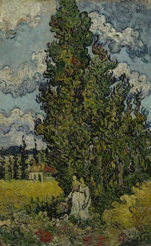 Винсент Ван Гог. Кипарис и две женщины