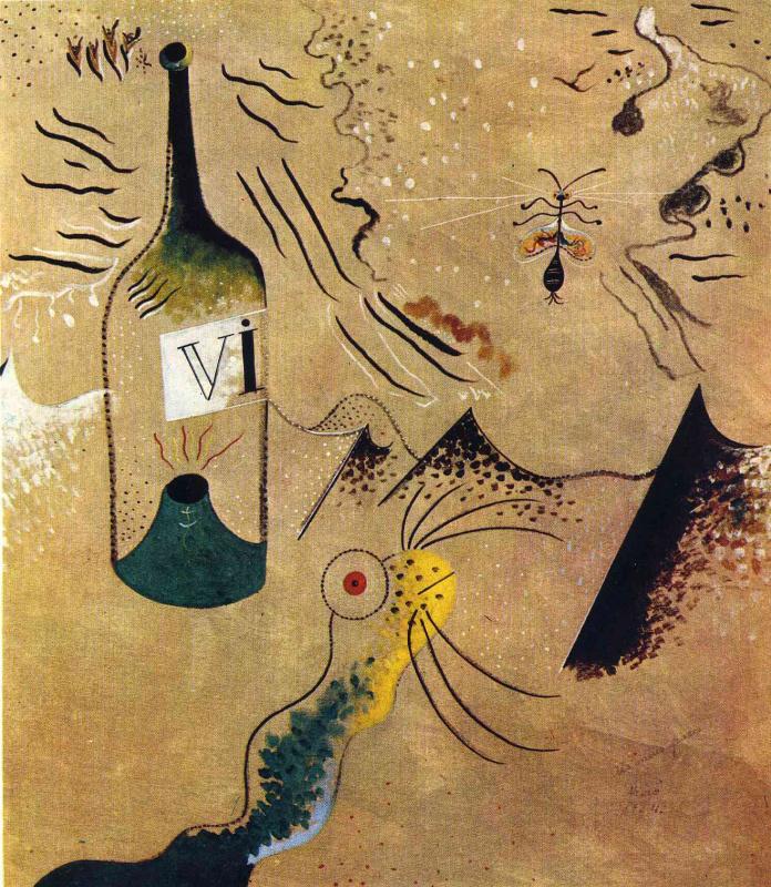 Joan Miro. A bottle of wine