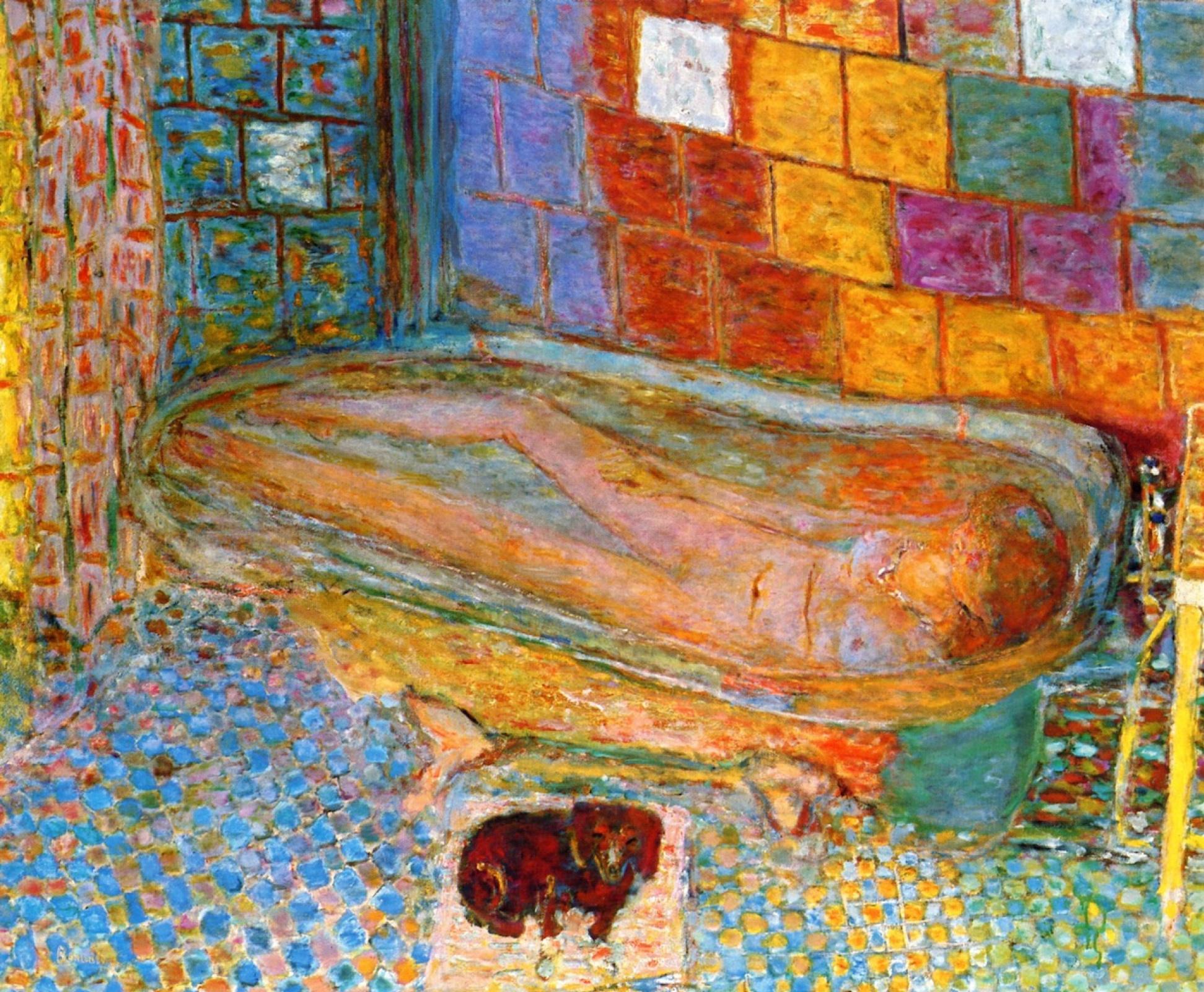 Пьер Боннар. Обнаженная в ванной и маленькая собака