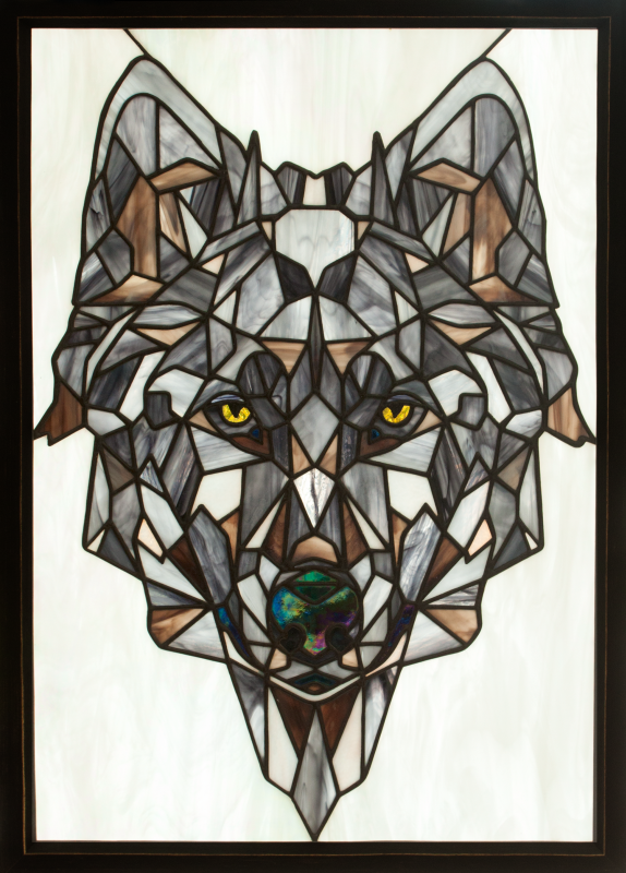 "Andrey Andreevich Dzyuba. Stained glass panel ""Geometric wolf."""