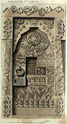 "Elena Dmitrievna Polenova. Sketch of the door ""Fairytale"" (outside) for the Aramtsev carpentry workshop"