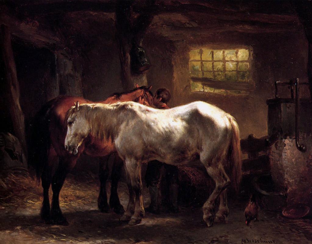 Walter Vershur. Two horses and a dog