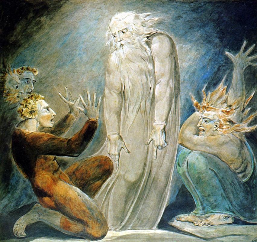 Уильям Блейк. Иллюстрации к Библии. Призрак Самуила, появившийся Саулу