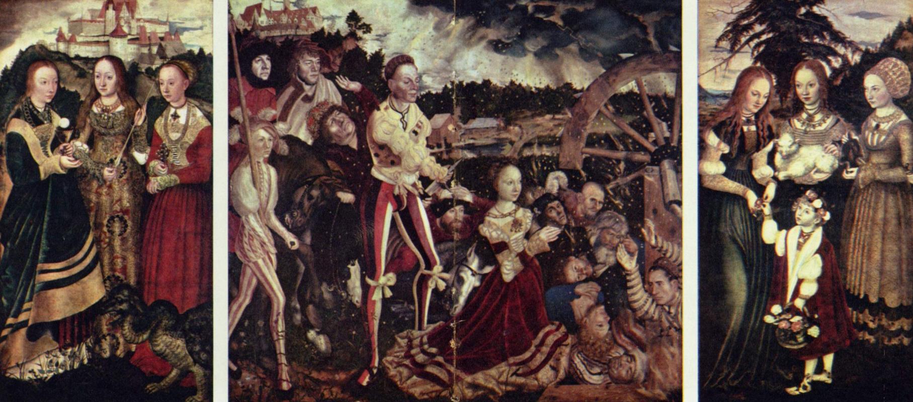 Лукас Кранах Старший. Алтарь св. Екатерины, общий вид, левая створка: святые Доротея, Агнесса и Кунигунда