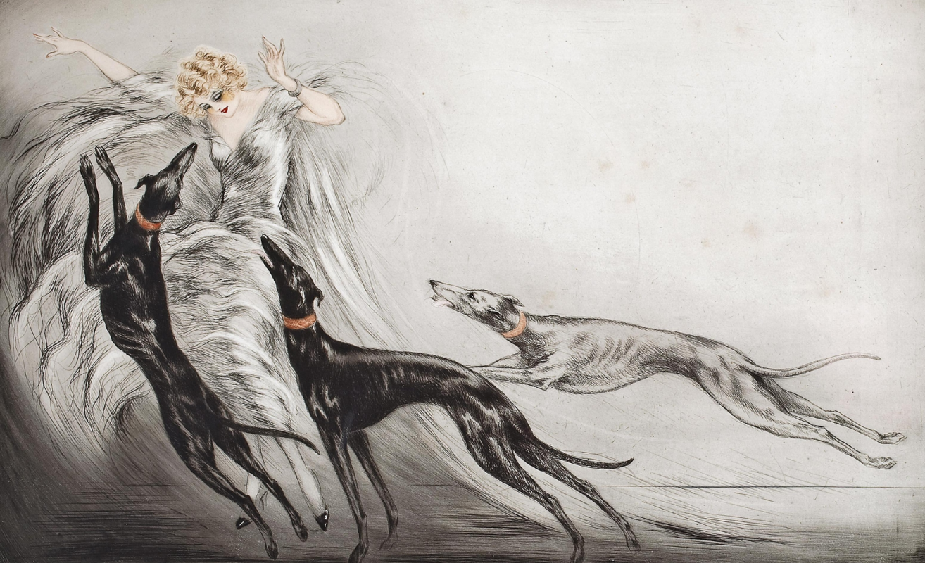 Icarus Louis France 1888 - 1950. Hunting with hounds.