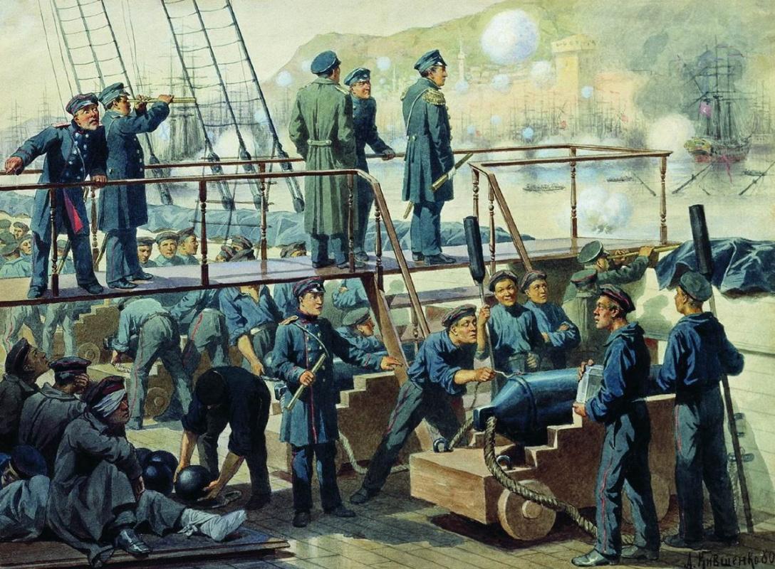 "Alexey Danilovich Kivshenko Russia 1851-1895. The deck of the battleship ""Empress Maria"" during the battle at Sinop. 1853 1880"