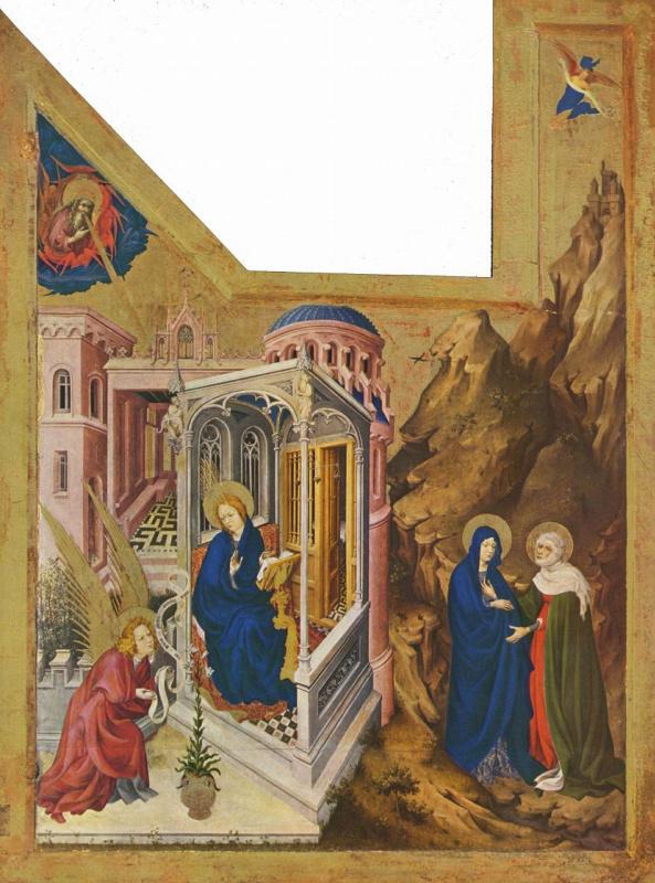 Мельхиор Брёдерлам. Алтарь Филиппа Смелого, герцога Бургундского, левая створка: Благовещение и Встреча Марии и Елизаветы