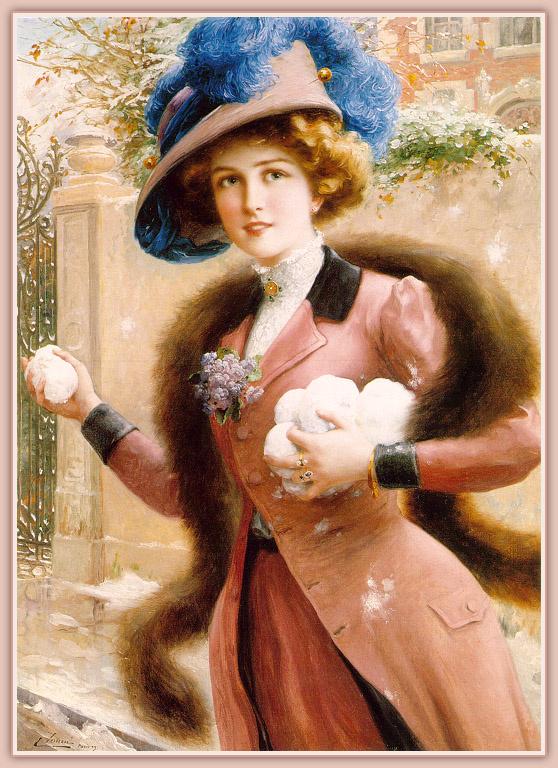 Emile Vernon. Elegant lady plays in the snow