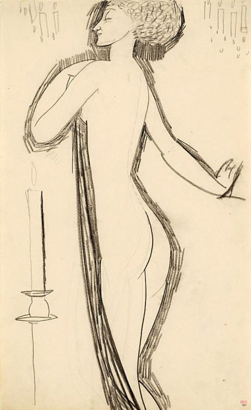 Amedeo Modigliani. Naked with a lighted candle