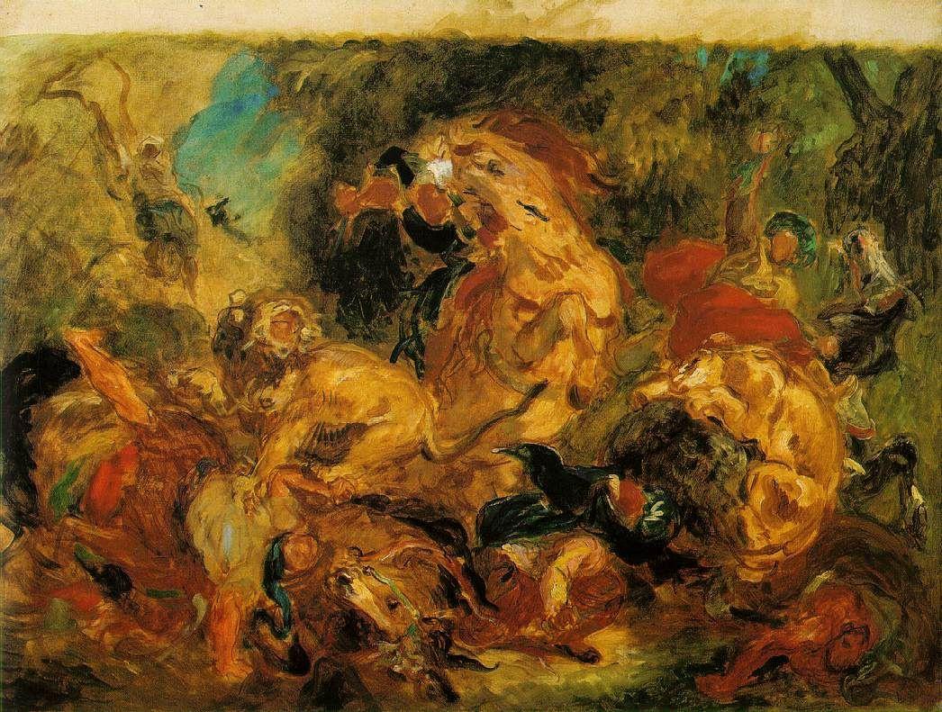 Eugene Delacroix. Hunting lions (Sketch)