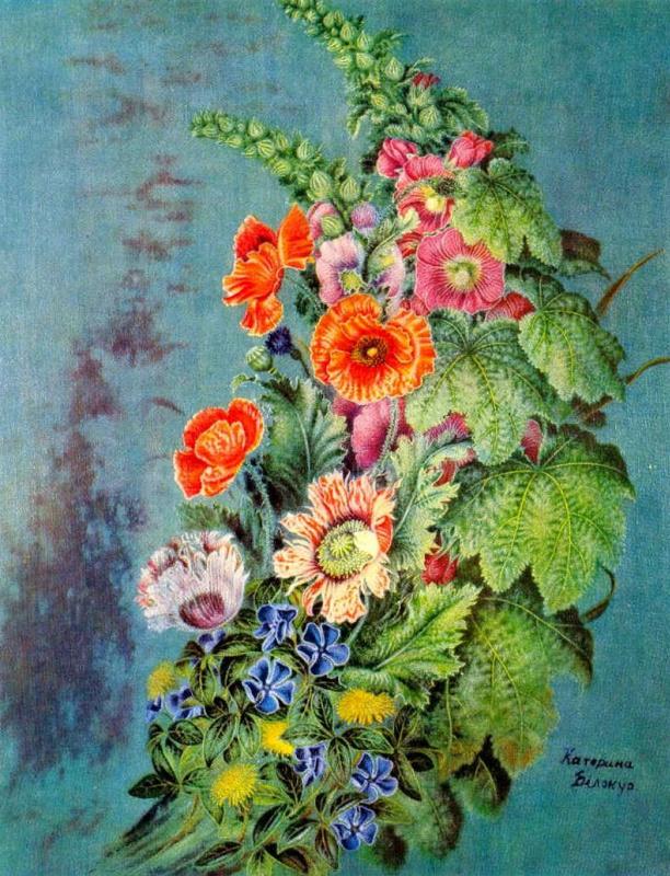 Екатерина Васильевна Билокур. Цветы на синем фоне