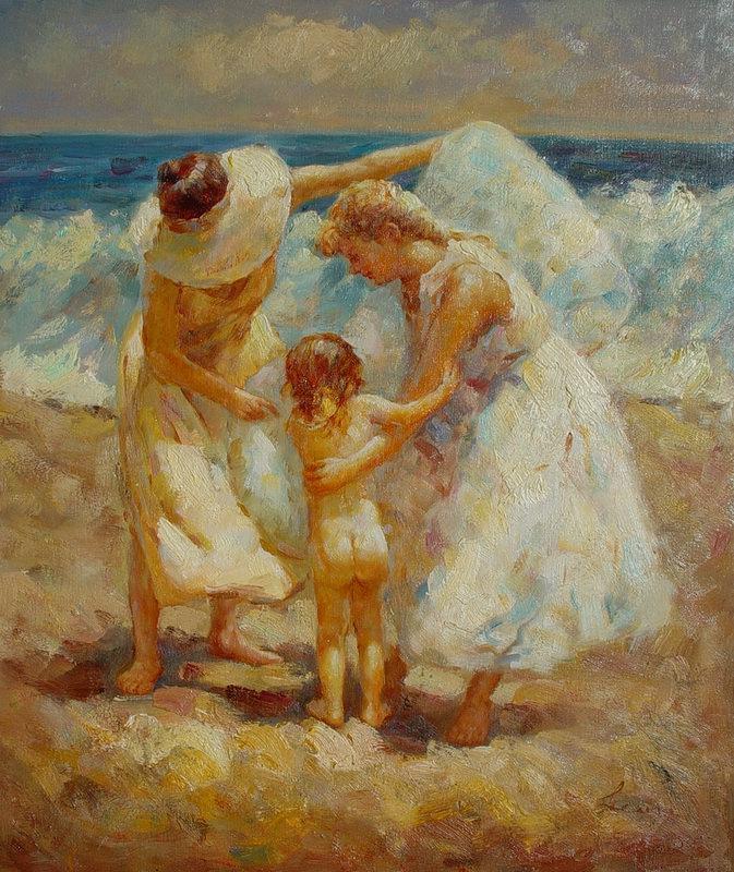Виндфелдт. Девушки с ребенком на берегу