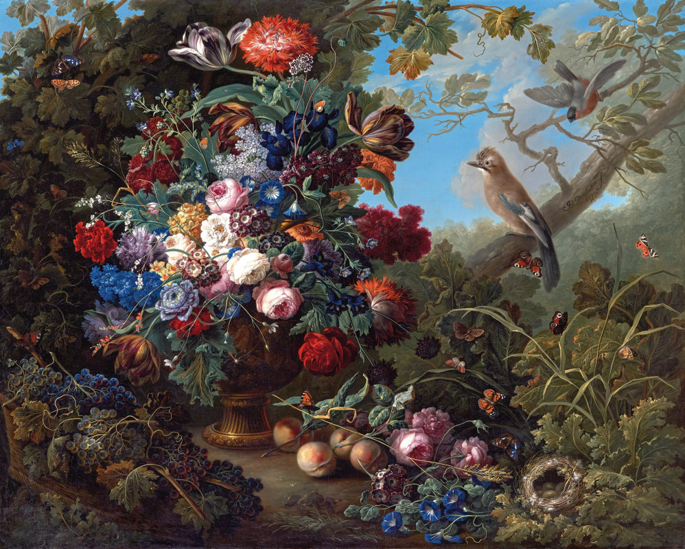 Johann Baptist Drechsler. Großes Blumenstillleben mit Vögeln