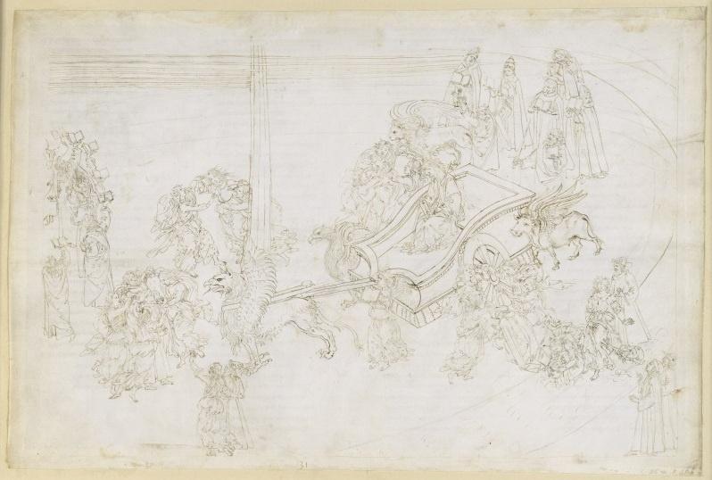 Sandro Botticelli. Confession of Dante. Purgatory. Illustration for the Divine Comedy