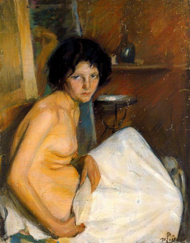 Никанор Пинол. Полуобнаженная женщина в простыне