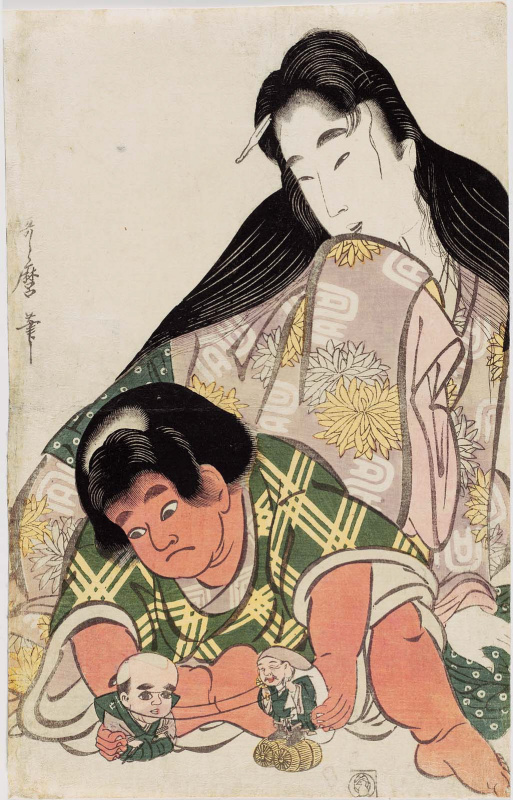Kitagawa Utamaro. Yamauba watching playing Kintaro
