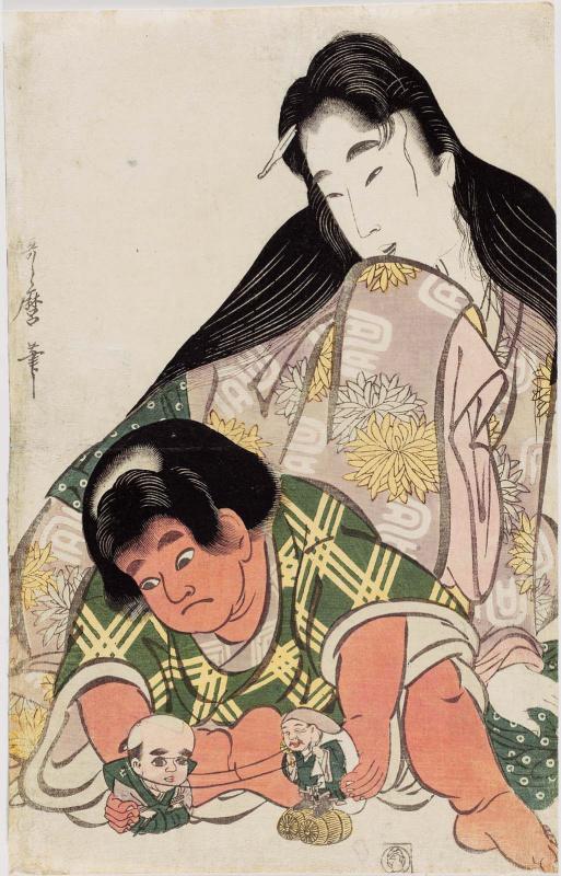 Kitagawa Utamaro. Yamauba watching playing Kintaro