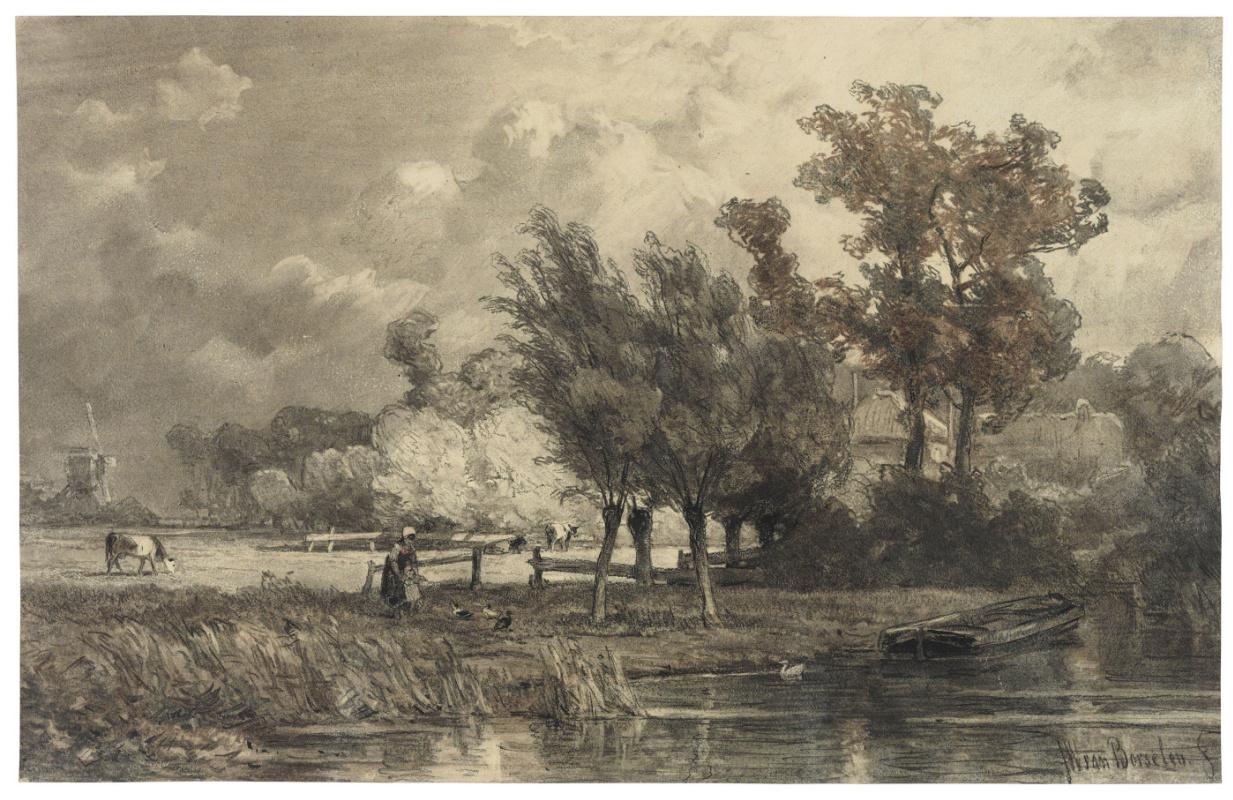 Ян Виллем ван Борселен. Сельская сцена с женщиной и ребёнком, кормящими уток в ручье