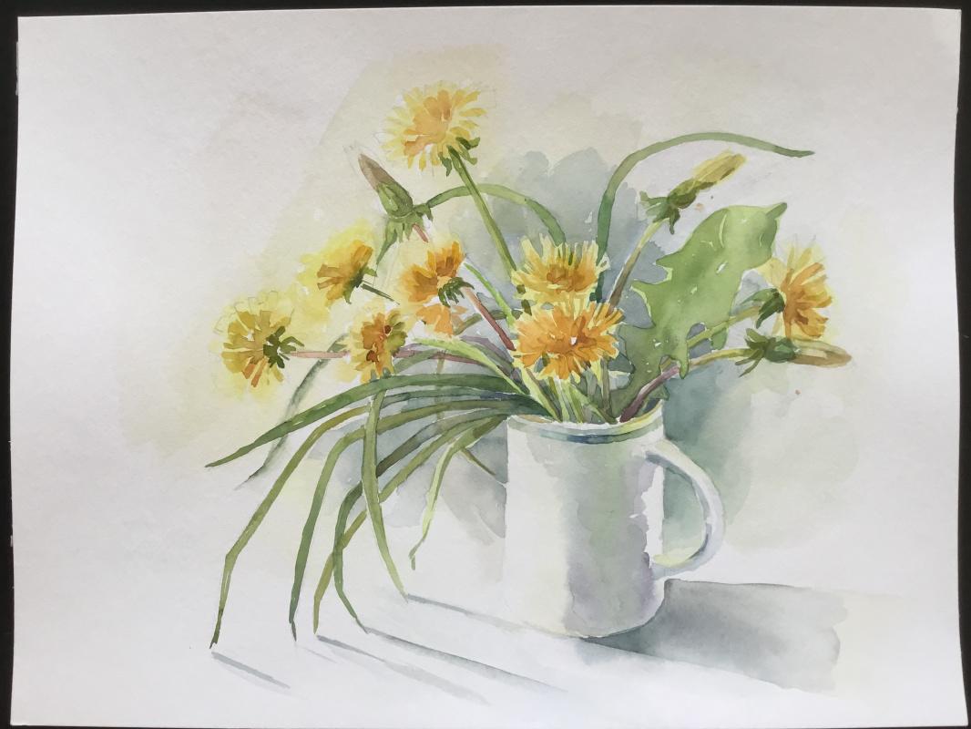 Vladimir Petrov. Still life with dandelions