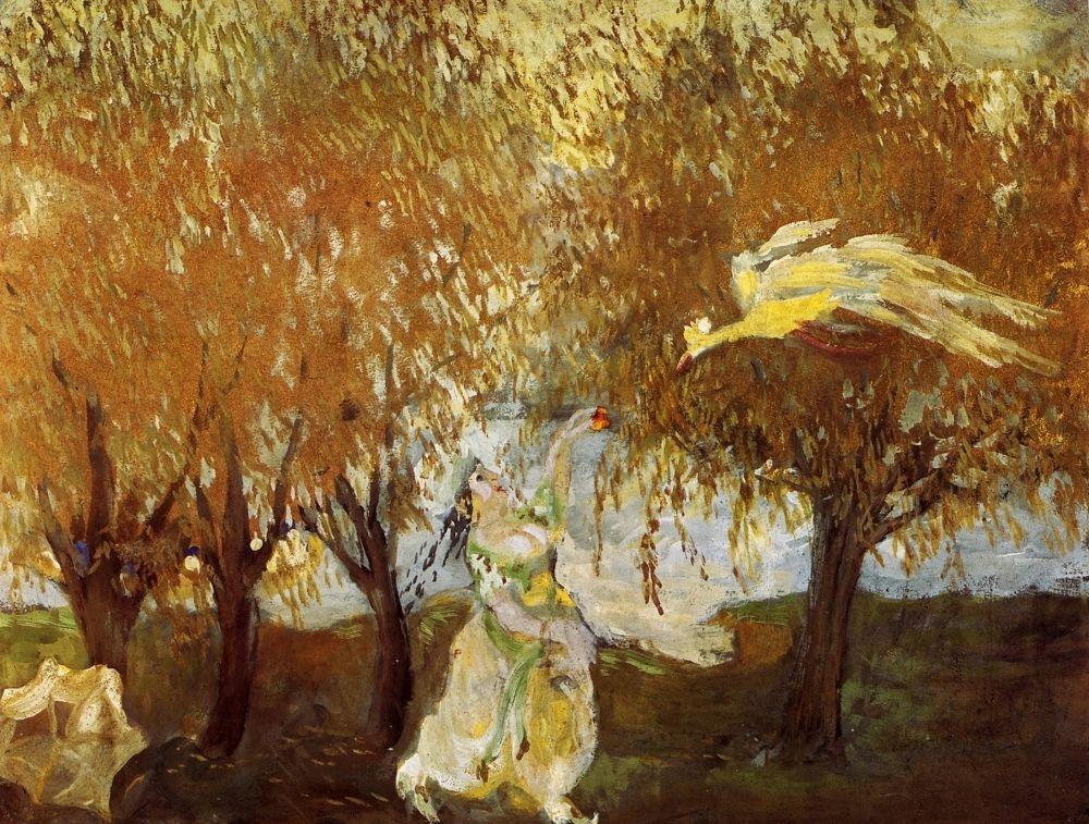 Михаил Федорович Ларионов. Женщина и фламинго. Иллюстрация к арабским сказкам
