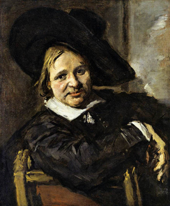 France Hals. Portrait of a seated man in a hat, dressed on one side, right hand resting on the back of a chair