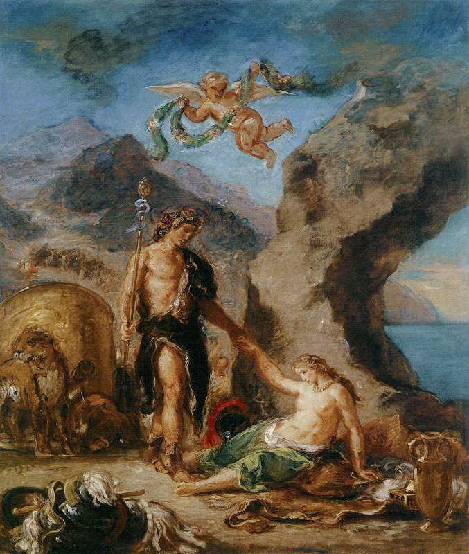 """Eugene Delacroix. Bacchus and Ariadne (From the series """"Four seasons"""". Autumn)"""