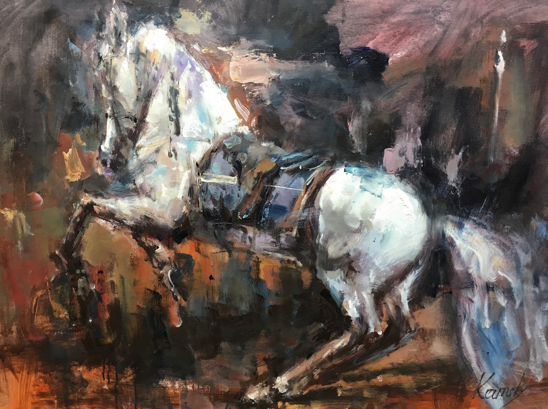Savely Kamsky. Horse. Standing on end